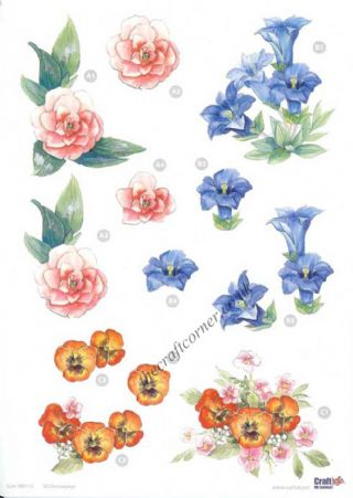 Camellia, Pansy & Campanula Flowers Die Cut 3d Decoupage Sheet